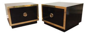 Pair of Hollywood Regency Black Lacquer and Brass Asian Nightstands