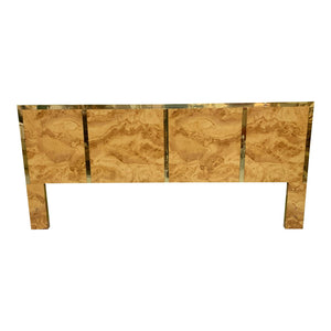 Hollywood Regency Burl Wood and Brass King Size Headboard