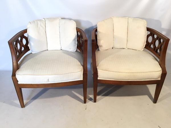 Hollywood Regency Carved Barrel Chairs After Dorothy Draper