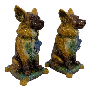 Hollywood Regency Ceramic Dog Statues, a Pair