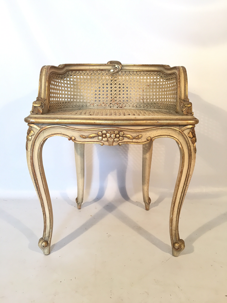 Hollywood Regency French Provincial Gold Gilt Cane Vanity Stool Marjorie And Marjorie
