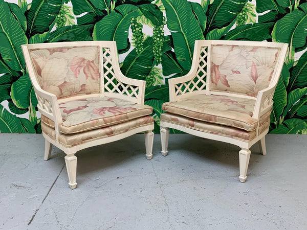 Hollywood Regency Lattice Club Chairs - a Pair front view
