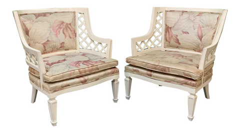 Hollywood Regency Lattice Club Chairs - a Pair