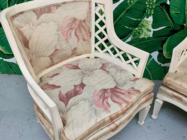Hollywood Regency Lattice Club Chairs - a Pair close up