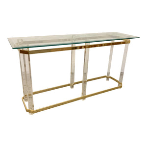 Hollywood Regency Lucite and Brass Console Table by Charles Hollis Jones