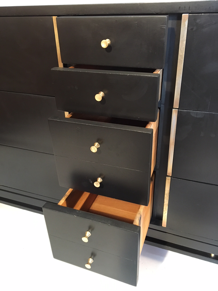 Hollywood Regency Mid Century Black and Brass Ten Drawer Dresser