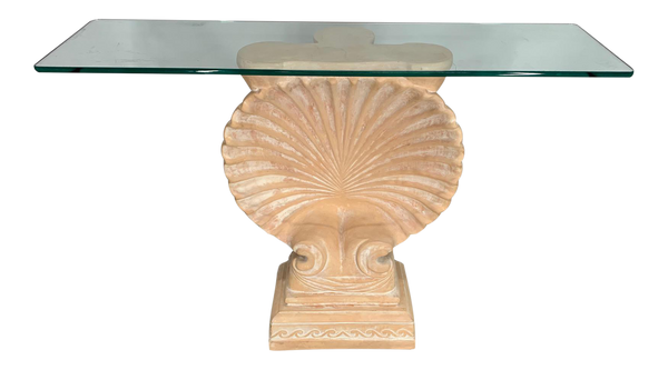 Hollywood Regency Shell Form Console Table After Edward Wormley