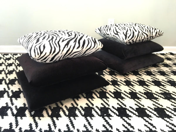 Hollywood Regency Stacked Pillow Velvet Zebra Footstools front view