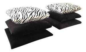 Hollywood Regency Stacked Pillow Velvet Zebra Footstools