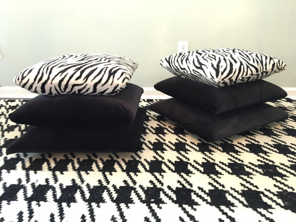 Hollywood Regency Stacked Pillow Velvet Zebra Footstools front and side view