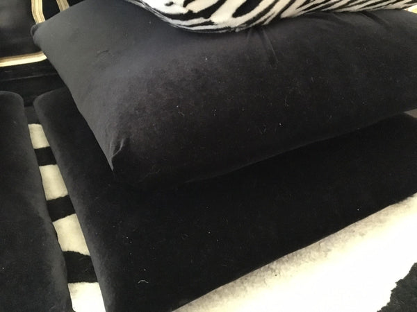 Hollywood Regency Stacked Pillow Velvet Zebra Footstools corner view