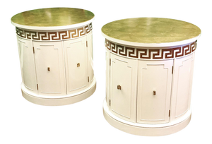 Hollywood Regency Style Drum End Tables by Thomasville