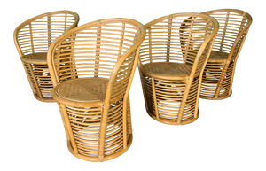 Horizontal Rattan Albini Style Barrel Dining Chairs, Set of 4