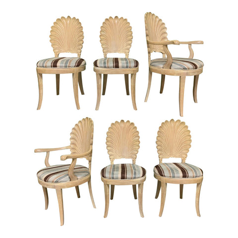 Italian Decorative Venetian Shell Back Dining Chairs, Set of 6