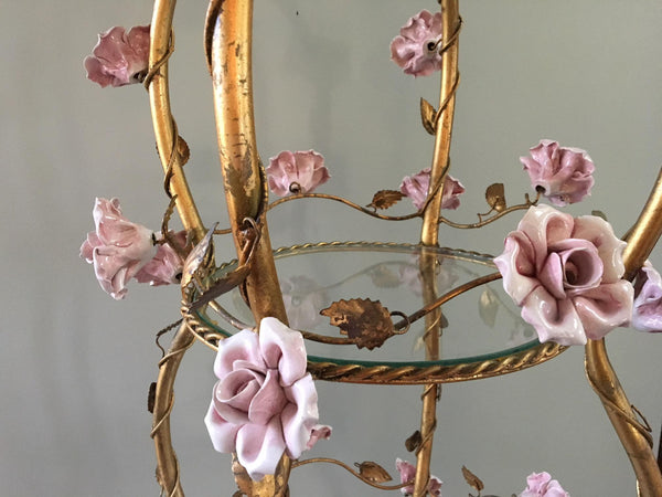 Italian Florentine Tole Gold Gilt Etagere With Porcelain Roses close up front