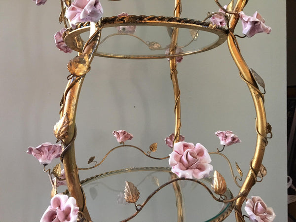 Italian Florentine Tole Gold Gilt Etagere With Porcelain Roses details