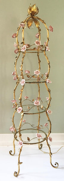 Italian Florentine Tole Gold Gilt Etagere With Porcelain Roses full view