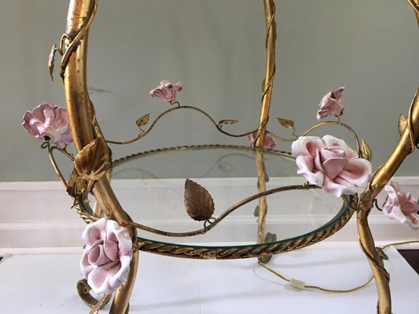 Italian Florentine Tole Gold Gilt Etagere With Porcelain Roses bottom