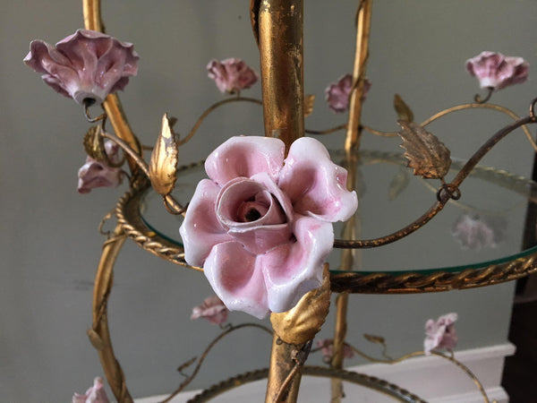 Italian Florentine Tole Gold Gilt Etagere With Porcelain Roses close up
