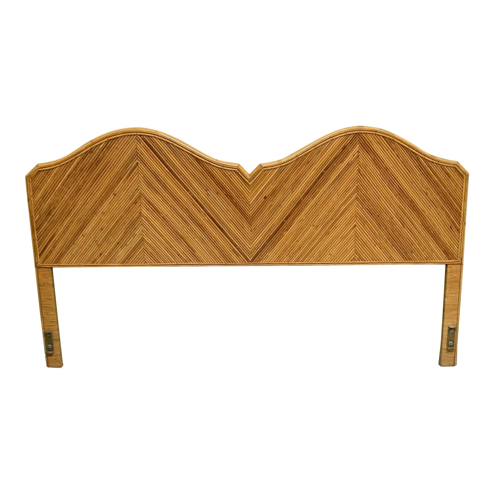 King Size Split Reed Rattan Headboard in the Style of Gabriella Crespi