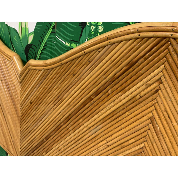 King Size Split Reed Rattan Headboard in the Style of Gabriella Crespi close up