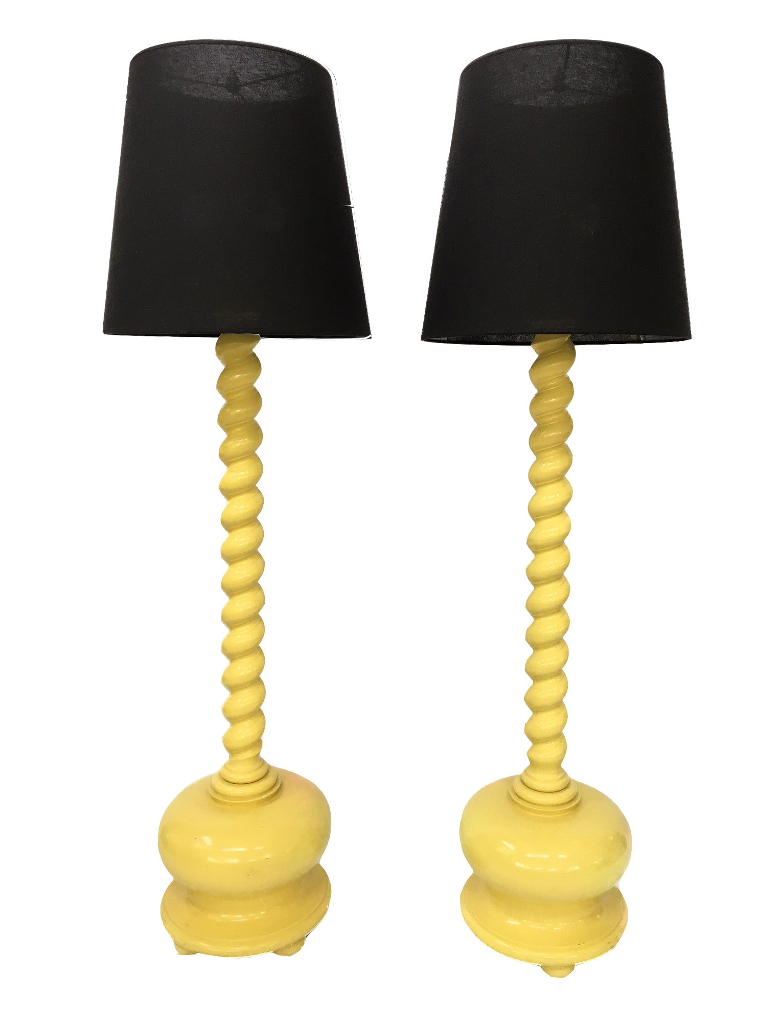 Pair of Yellow Spiral Twist Wood Floor Lamps