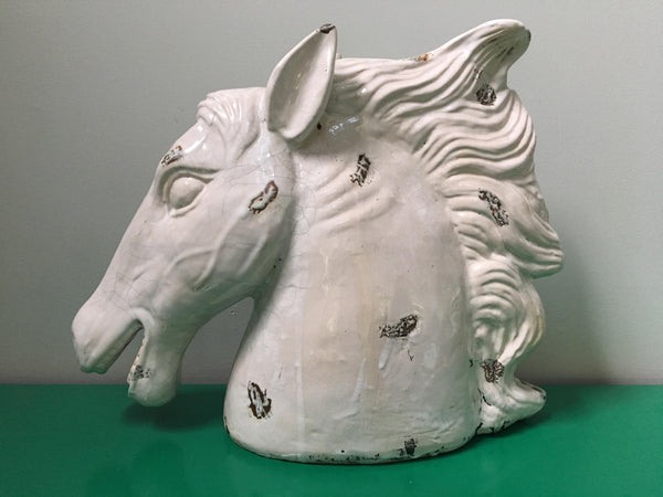 Large Hollywood Regency Ceramic Horse Head Sculpture