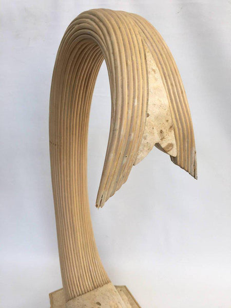 Large Sculptural Stone and Rattan Fish Sculpture by Maitland Smith