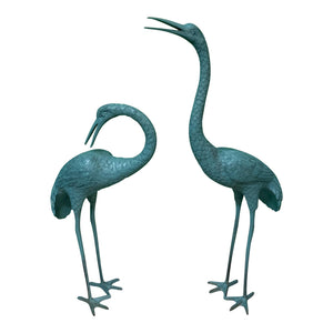 Large Steel Egret Bird Statues, a Pair