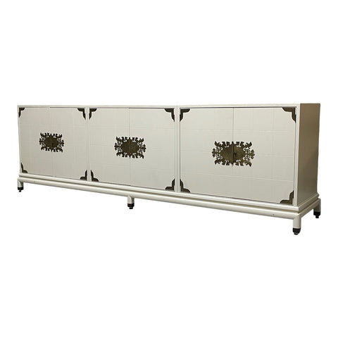 Large Three Cabinet Pedestal Credenza by Renzo Rutili for Johnson Furn. Co.