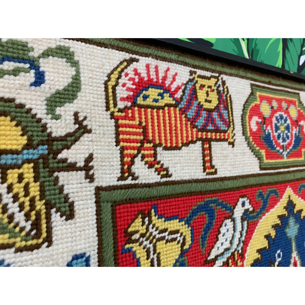 Large Vintage Needlepoint Wall Hanging side view