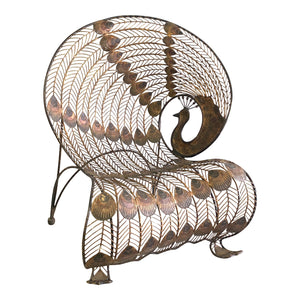 Large Wrought Iron Sculptural Peacock Chair