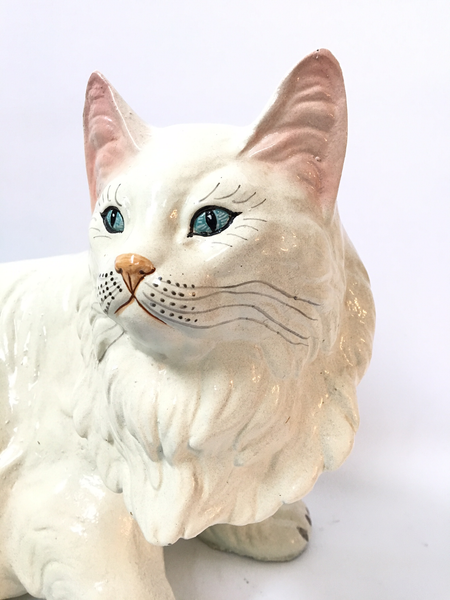 Lifesize Marwal Chalkware Persian Cat Figurine