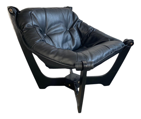 """Luna"" Lounge Chair by Odd Knutsen in Black Leather"