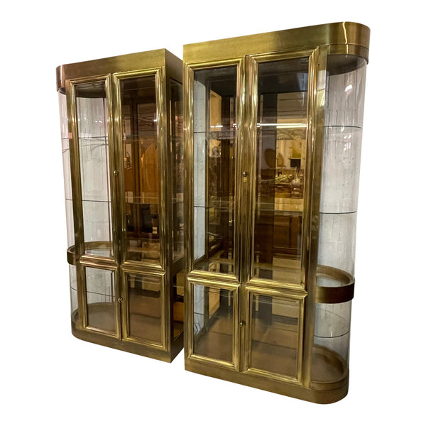 Mastercraft Brass and Glass Display or Vitrine Cabinets, a Pair