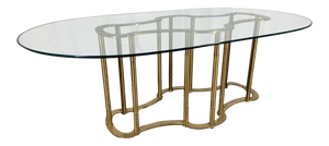 Mastercraft Racetrack Brass Pedestal Dining Table