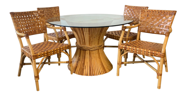 McGuire Rattan and Leather Dining Set, 4 Chairs and Sheaf of Wheat Table