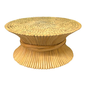 McGuire Sheaf of Wheat Rattan Coffee Table