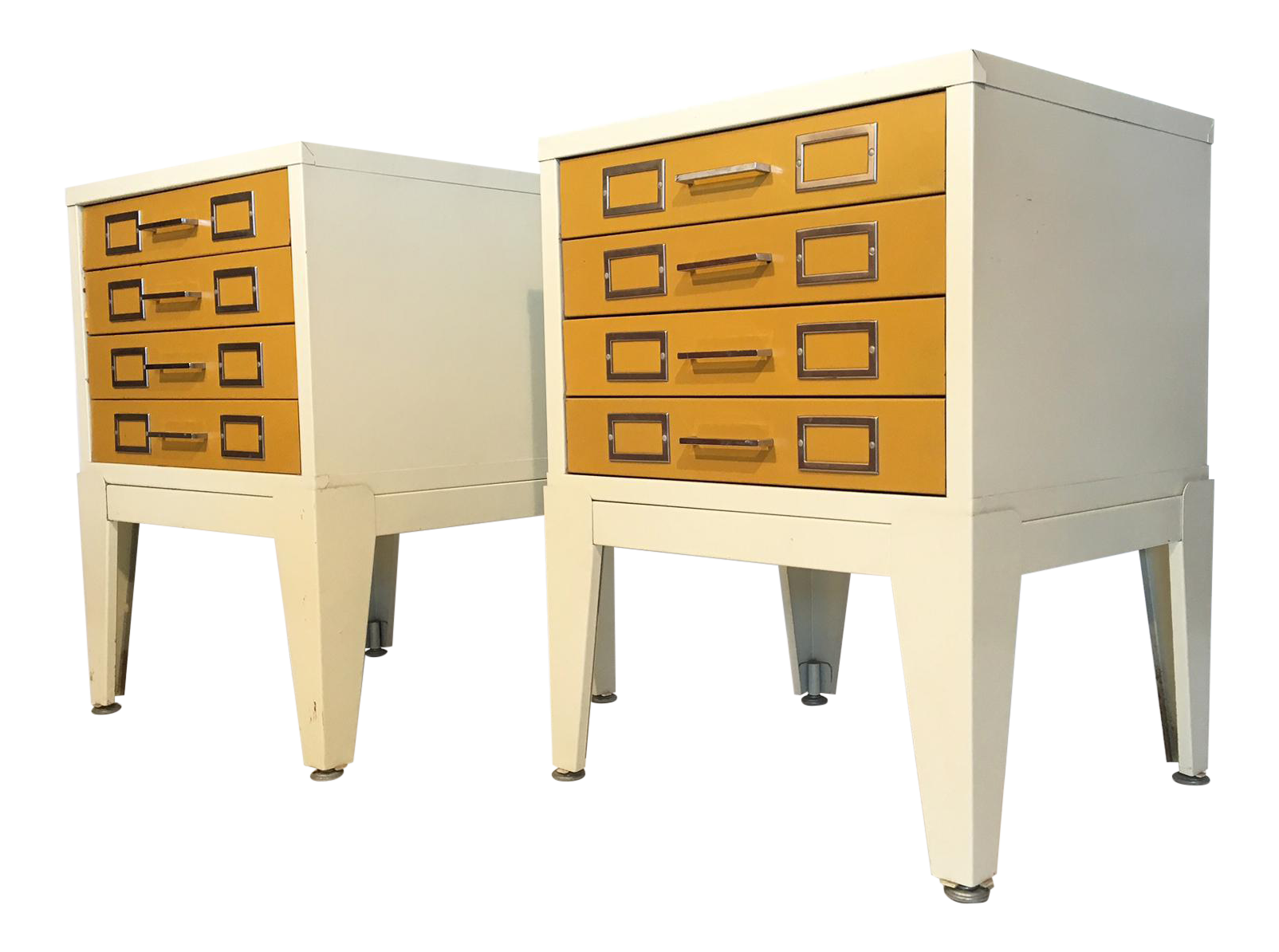 Pair of Metal Cabinet 4-Drawer Nightstands in the Style of George Nelson