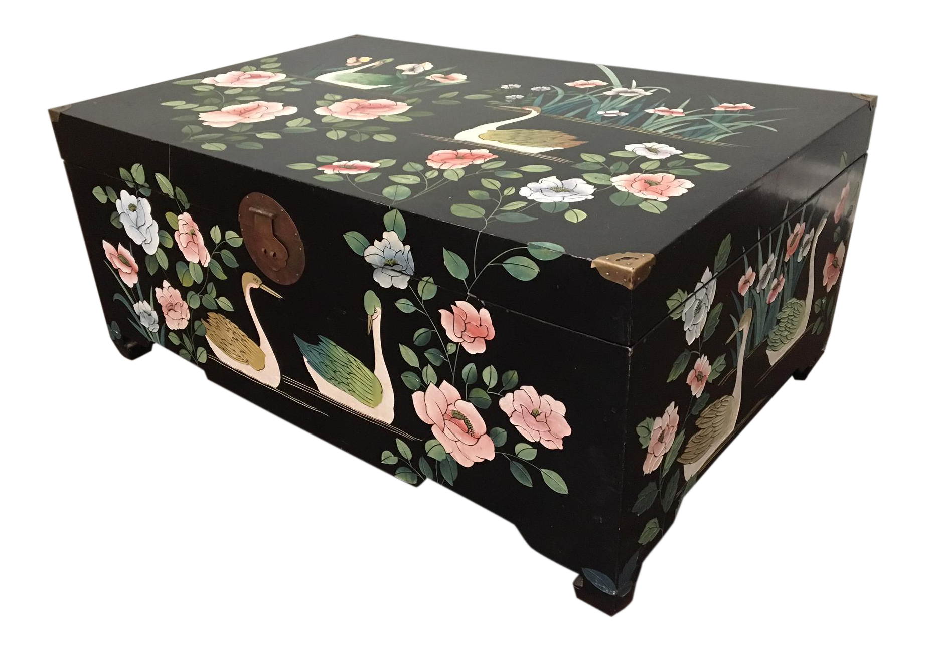 Mid Century Asian Chinoiserie Hand Painted Trunk