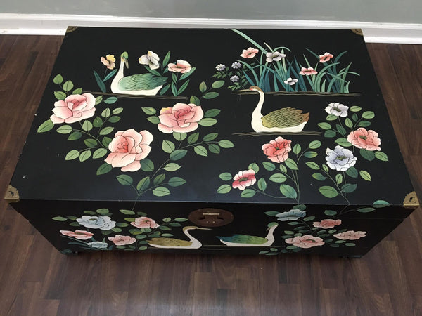 Mid Century Asian Chinoiserie Hand Painted Trunk top view