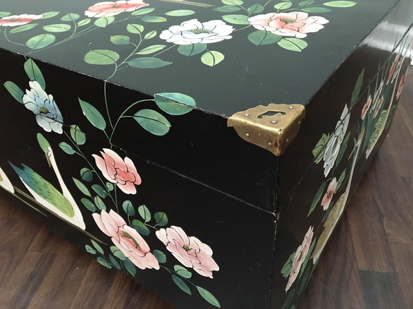 Mid Century Asian Chinoiserie Hand Painted Trunk corner view
