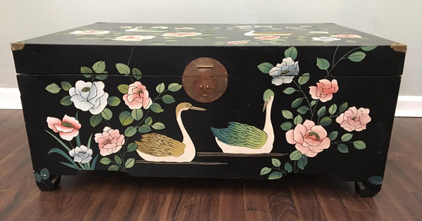 Mid Century Asian Chinoiserie Hand Painted Trunk front view