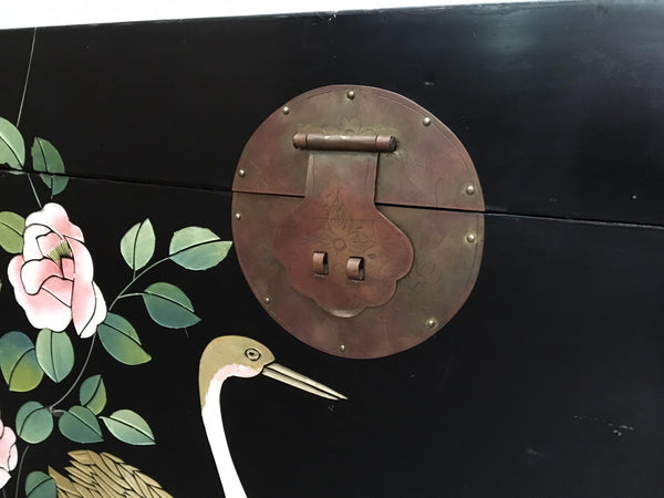 Mid Century Asian Chinoiserie Hand Painted Trunk hardware
