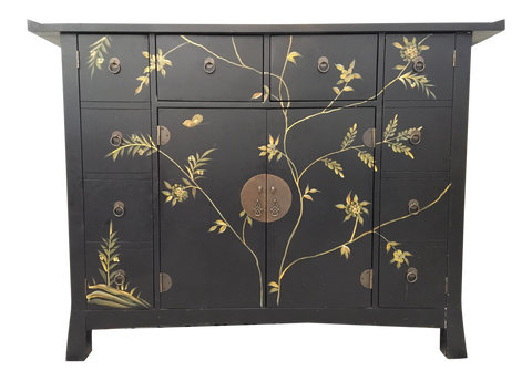 Mid Century Asian Hand Painted Server Credenza