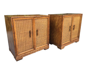 Mid Century Bamboo and Rattan Cabinets
