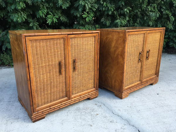 Mid Century Bamboo and Rattan Cabinets front view