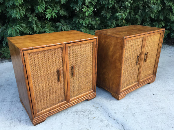 Mid Century Bamboo and Rattan Cabinets front