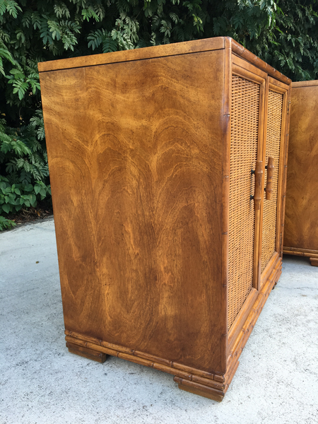 Mid Century Bamboo and Rattan Cabinets side view