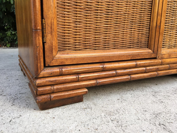 Mid Century Bamboo and Rattan Cabinets detailing